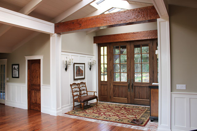 Rustic Beams Recessed Panel Columns And Knotty Alder Doors Headers Craftsman