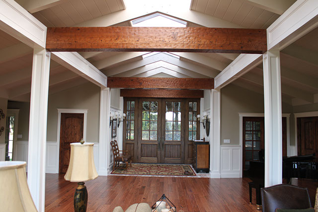 Craftsman Style Wainscoting Recessed Panel Columns Beams Rustic Knotty Alder Doors